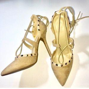NEW Wild diva studded heels tan nude tie up